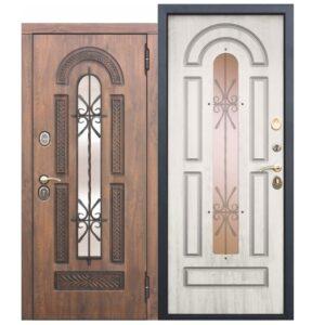 Входная металлическая дверь со стеклопакетом и ковкой Vikont Сосна белая