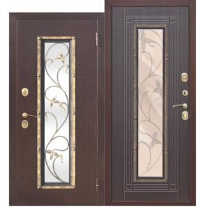 Входная металлическая дверь со стеклопакетом Плющ Медный антик